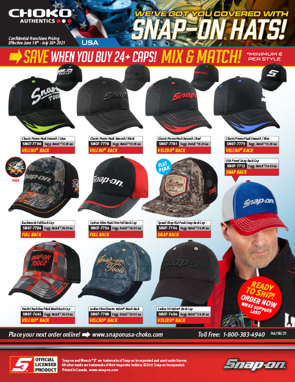 Snap-on hats 24 plus pricing